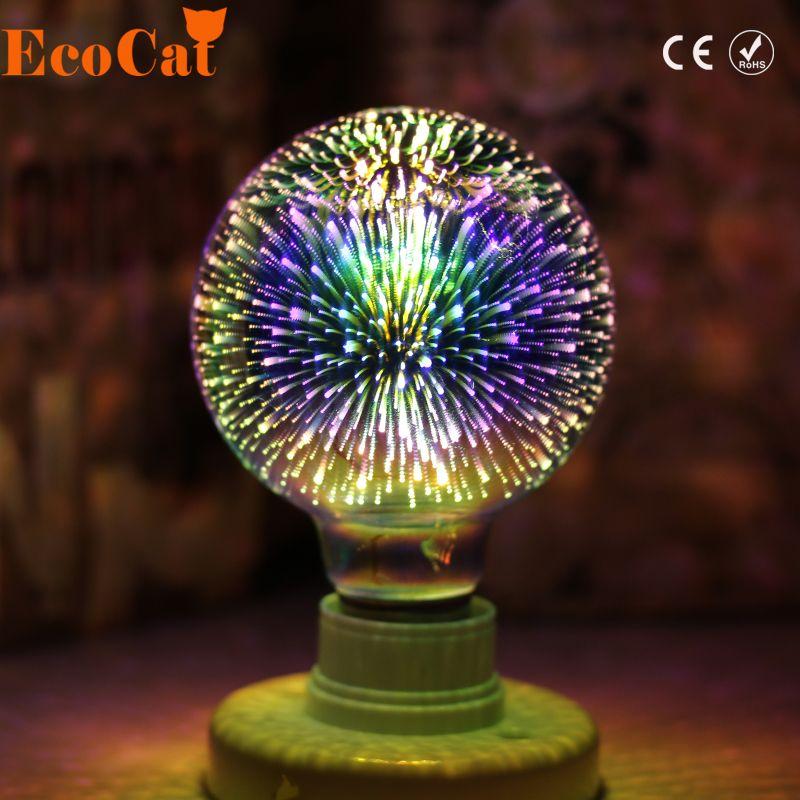 ECO Cat Led Light Bulb 3D Decoration Bulb E27 4W 220-240V Holiday Lights ST64 G95 G80 G125 A60 Novelty ChristmasLamp Lamparas