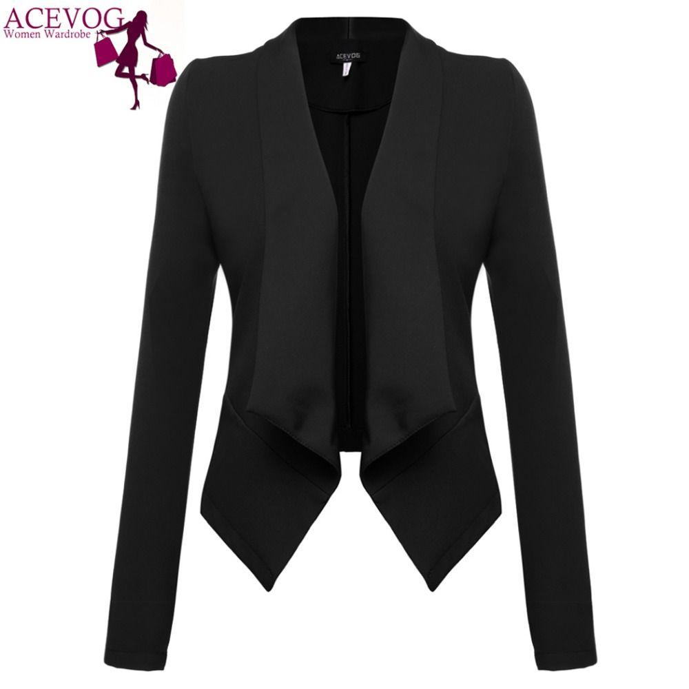 Acevog marca 2017 mujeres chaqueta Otoño Invierno manga larga chaqueta básica señoras elegantes Blazers rojo oscuro más negro tamaño