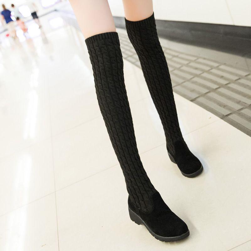 Новые осенне-зимние теплые туфли-лодочки на высоком каблуке Повседневная женская обувь из искусственного нубука с вязкой выше колена baok-377d