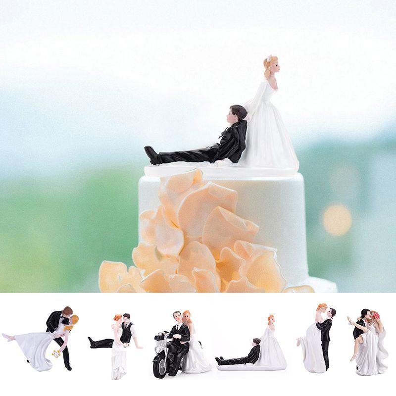 Высокое качество синтетические смолы невеста жених Свадебный торт Топпер Романтический Свадебная вечеринка украшения очаровательны фигу...