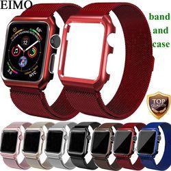 EIMO Milanese Loop Strap+Watch Case For Apple Watch band 42mm 44mm iwatch 4/3/2/1 38mm 40 mm Link Bracelet Wrist Belt Watchband
