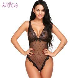 Avidlove Lace Lingerie Sexy Erotic Teddies Bodysuit mujeres Spaghetti correa de encaje ropa interior del sexo del traje Porno ropa
