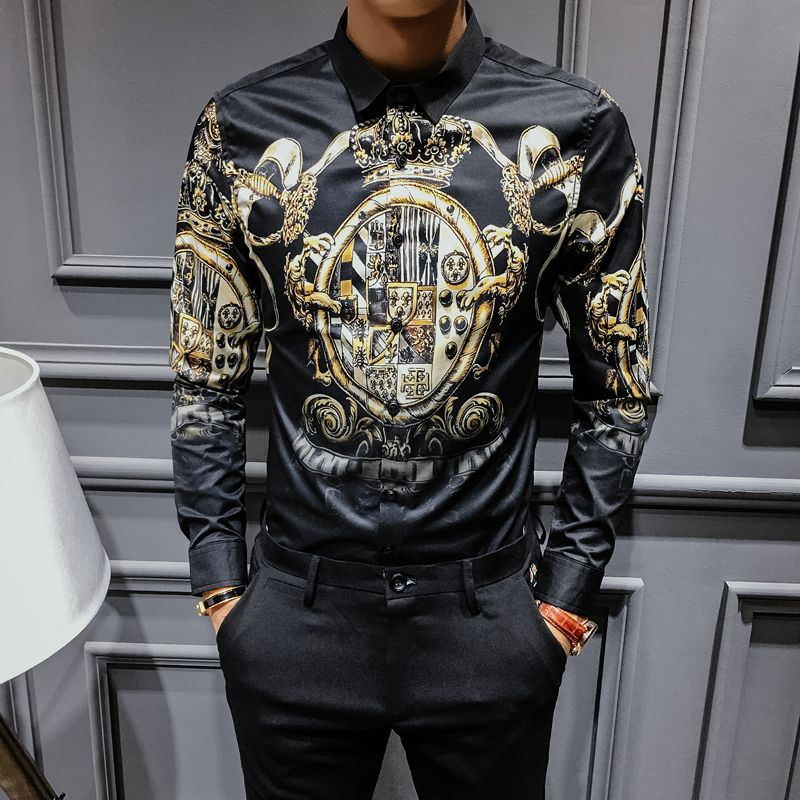 Black Gold Print Shirt 2017 New Baroque Slim Fit Party Club Shirt Men Camisa Homem Male Long Sleeve Shirt Oversize 4XL Hip Hop