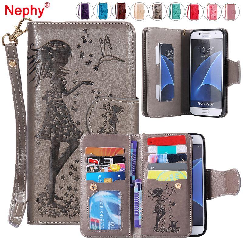 Nephy Portefeuille Cas de Téléphone Pour Samsung Galaxy S3 S4 S5 S6 S7 Bord S8 Plus A3 A5 J3 J5 J7 2016 2017 Couvercle Rabattable En Cuir Capa Coque