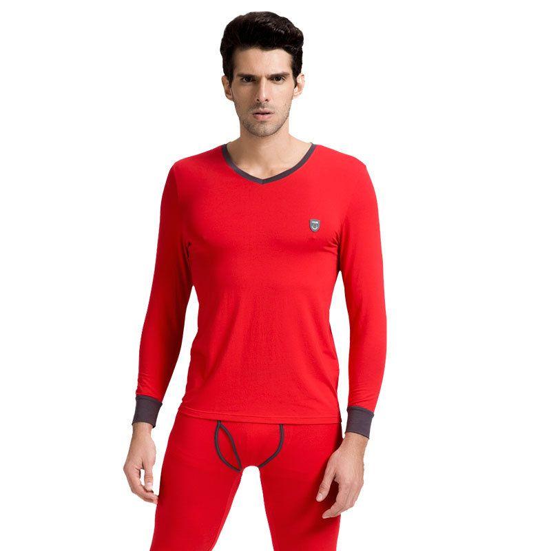 CILER Thermische Unterwäsche Set ROT Herbst Männer Lange Unterhosen männer Moda Baumwolle Warme Lange John V-ausschnitt Thermische Unterhemden Hosen