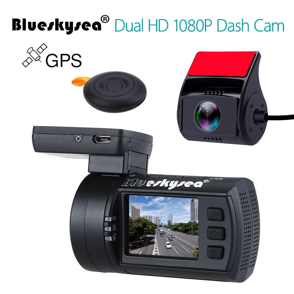 Blueskysea Mini 0906 Dual Dash Camera Full HD 1080P Car Camera Sony IMX291 Exmor Sensor Dual Channel Vehicle Dashboard Recorder