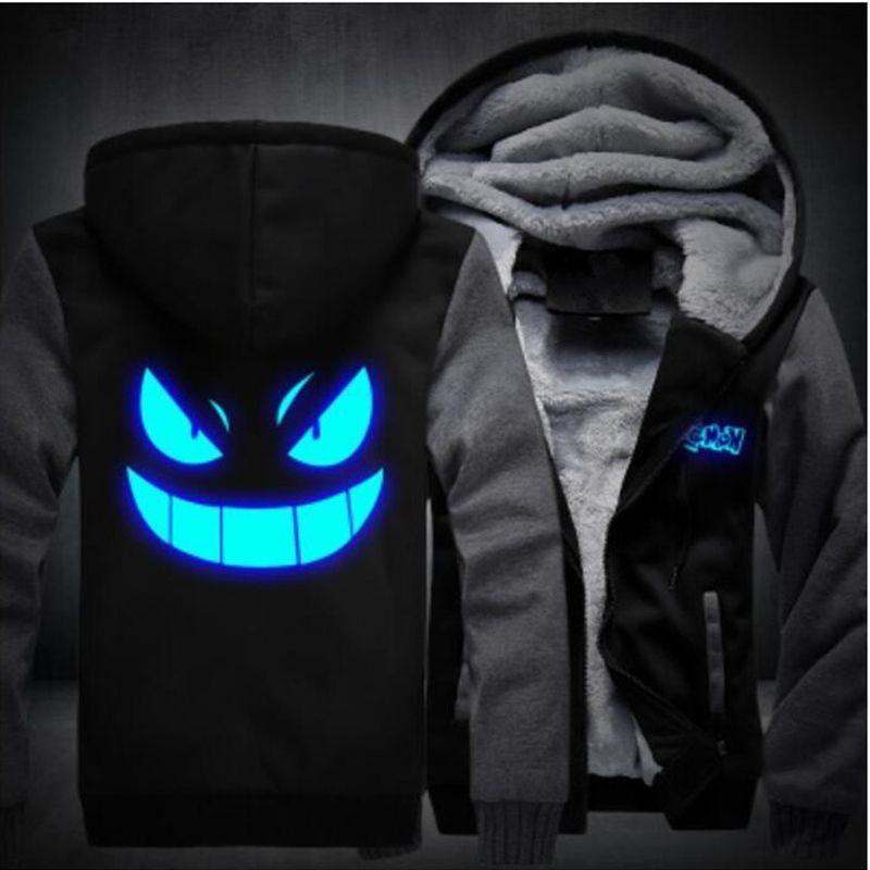 Anime Pokemon Go Pocket Monster Gengar Luminous Coats Glowing Men's Hoodies Sweatshirts Winter Thicken Fleece Clothing USA SIZE