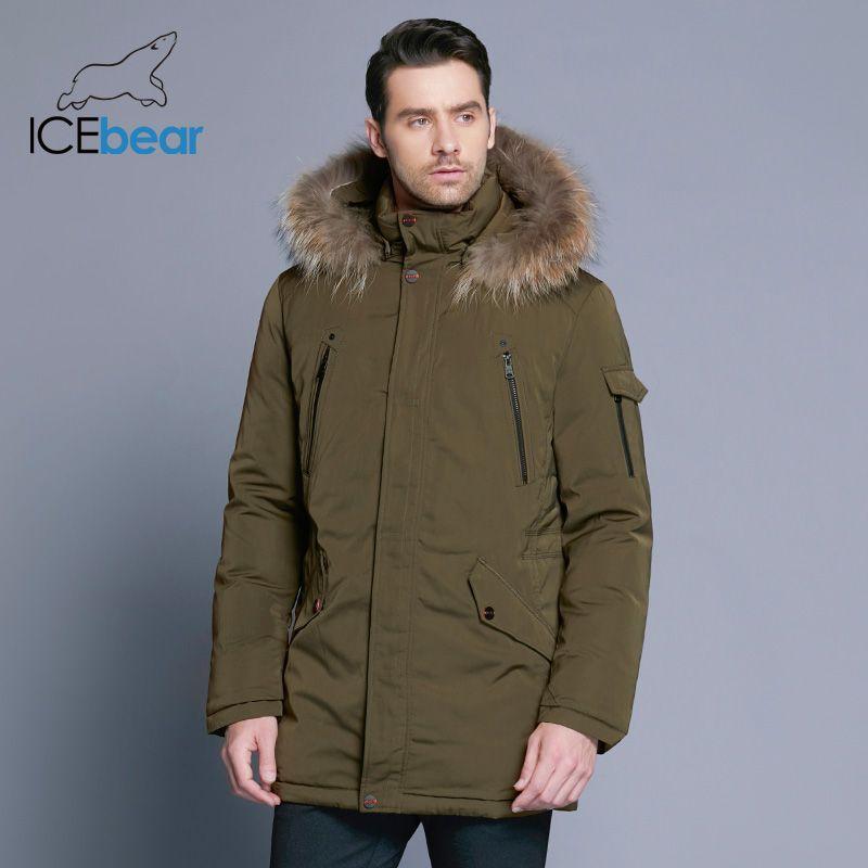 ICEbear 2018 Man Warm Winter Brand Jacket Luxury Detachable Fur Collar Turtleneck Windproof Concise Comfortable Cuffs 17MD903D