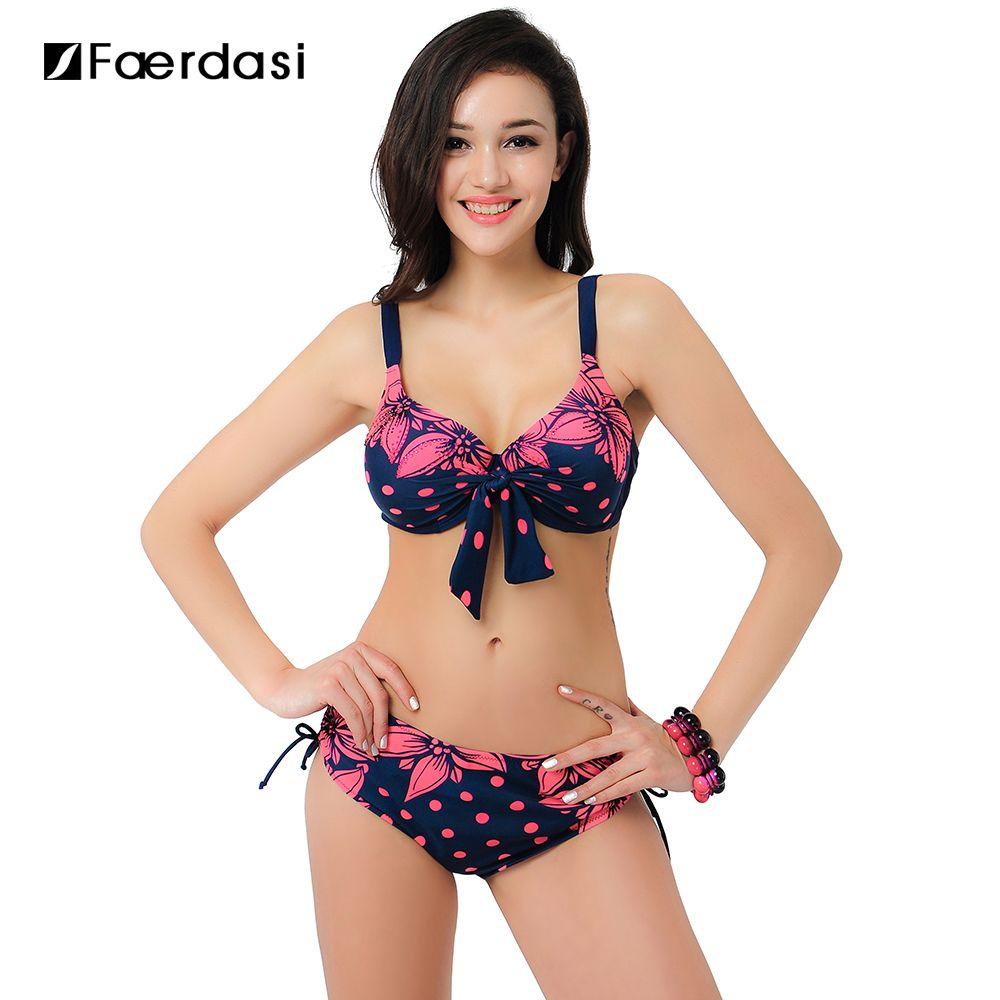 Faerdasi 2017 New Plus size Swimwear Low Waist Bikini Set High Quality Swimsuit Bandage Push Up Beachwear FD81551