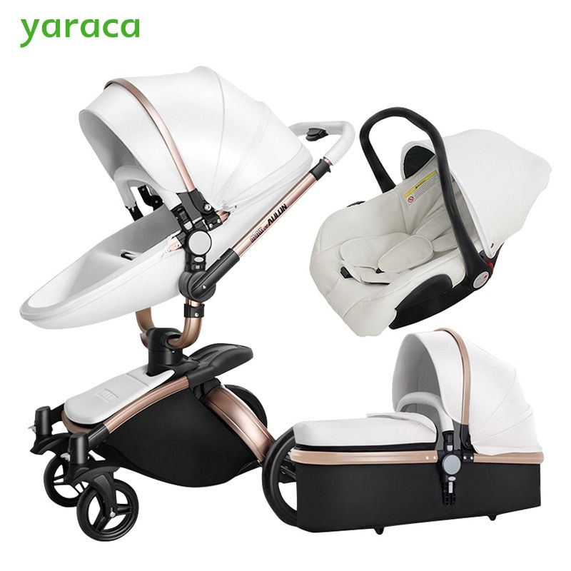 Luxury Baby Stroller 3 In 1 With Separate Carrycot Black Frame 360 Degree Rotation Baby Carriage High-landscape Pram For Newborn
