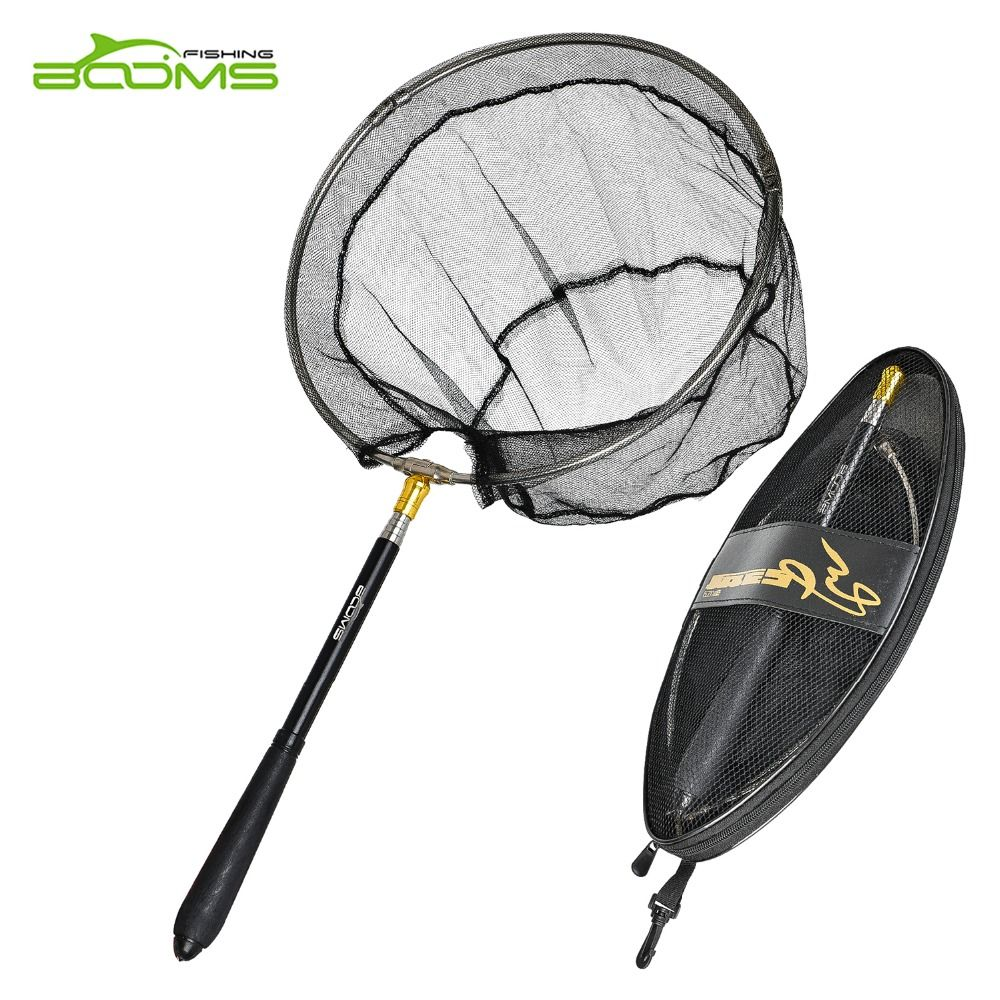Booms Fishing N3 Compact  Portable Retractable Telescoping Folded Fly Fishing Landing Net  Nylon Mesh 71-193cm Fishing Tackle