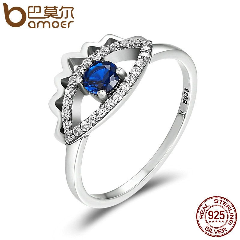 BAMOER Hot Sale Authentic 925 Sterling Silver Blue Eyes Sparking CZ Finger Ring for Women Wedding Engagement Jewelry Gift SCR108