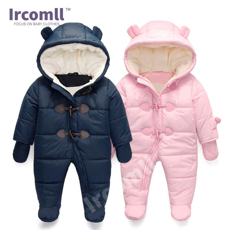 lrcoml Keep Thick warm Infant baby rompers Winter clothes Newborn Baby Boy Girl Romper Jumpsuit Hooded Kid Outerwear For 0-24M