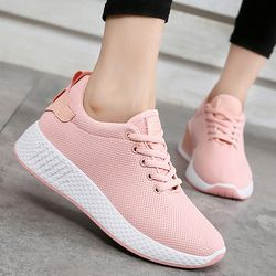 Comfortable women sneakers air mesh spring/autumn shoes solid black/white/pink female shoes zapatillas mujer plus size 34-39