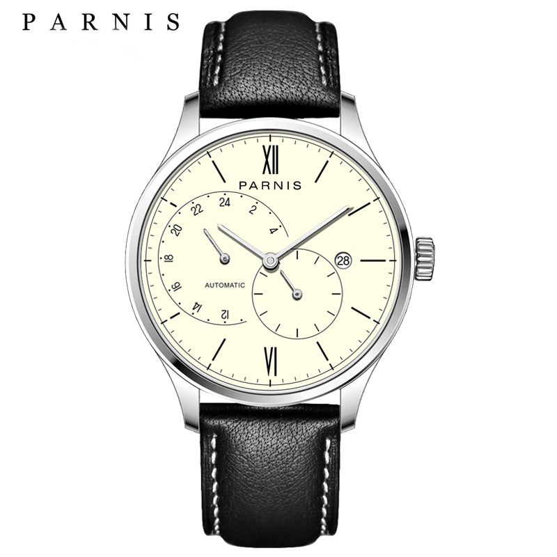 New Arrival 2018 Hot Parnis Automatic Watch Men Ultra Thin Mesh Steel Band Leather Strap Men Mechanical Watches horloge mannen