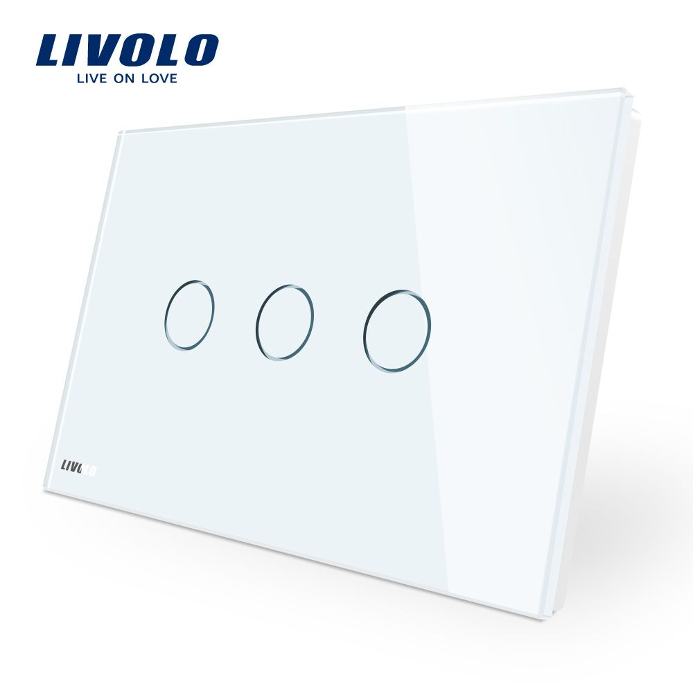 Manufacturer, Livolo Wall Switch VL-C903-11,3-gang 110~220V  Crystal Glass Panel,AU/US Standard Touch Screen Control Wall Light
