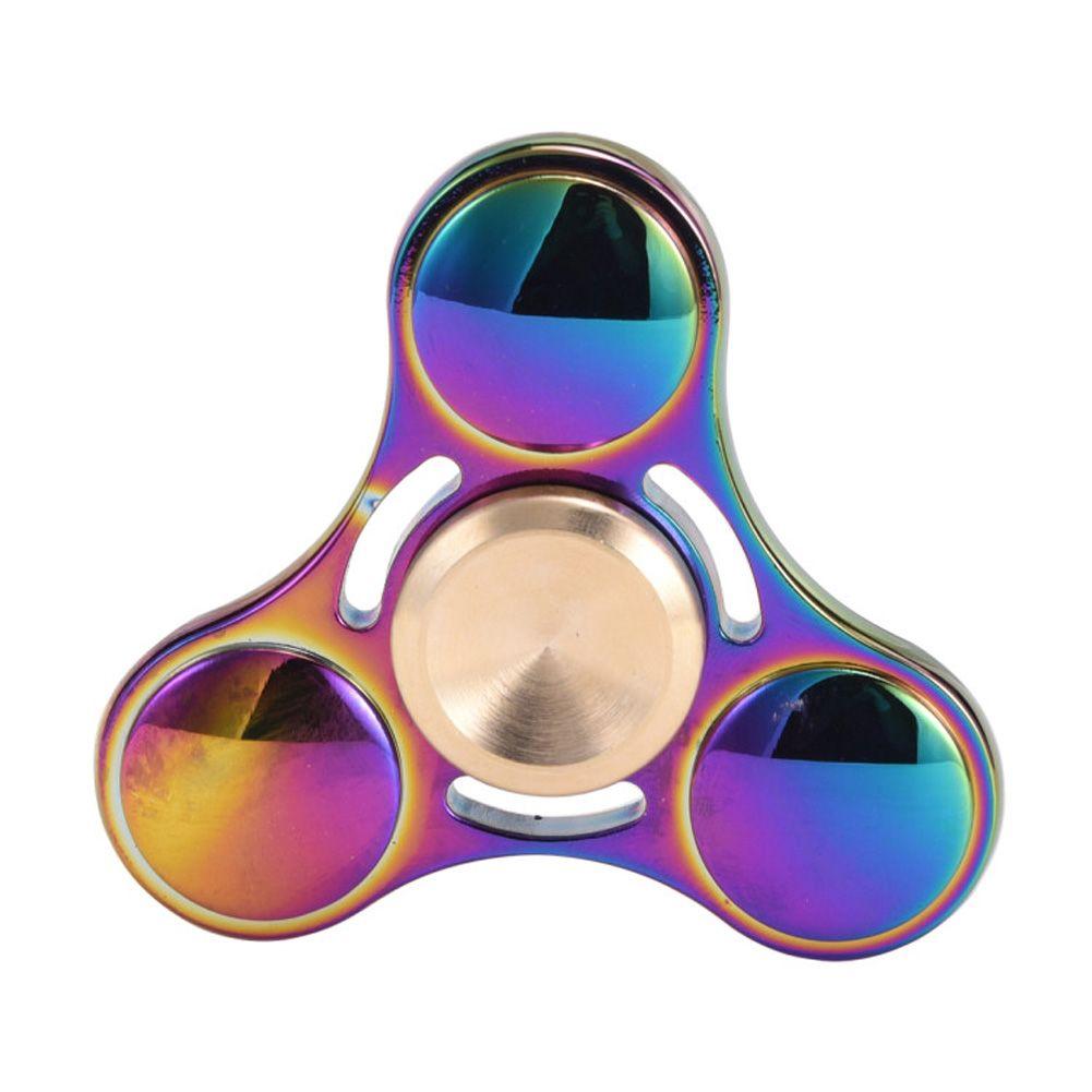 Nuevo Juguete de la Mano Juguetear Spinner Spinner Spinner Arco Iris de Colores De Metal de Tres Anti Estrés Juguetes Regalo de Año Nuevo Regalo Hombre Dedo Juguetes Tops