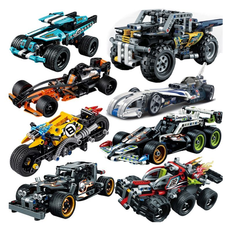 Decool Racer Pull Back Car Technic Tractor Excavator Technician Building blocks Bricks Compatible legoings Kid Toys For Children