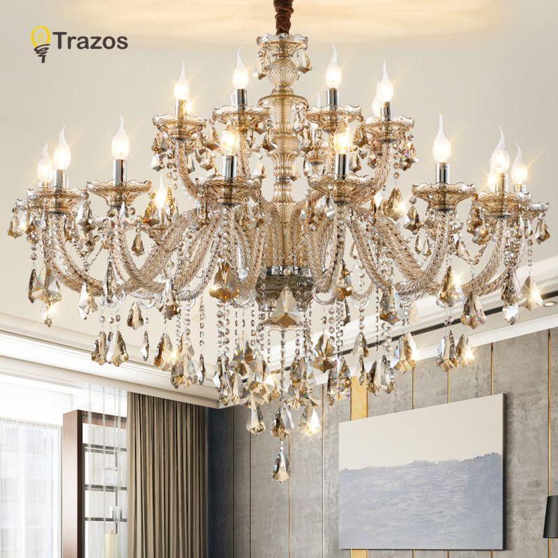 Lustre en cristal de luxe pour salon lustre sala de jantar cristal lustres modernes luminaire décoration de mariage