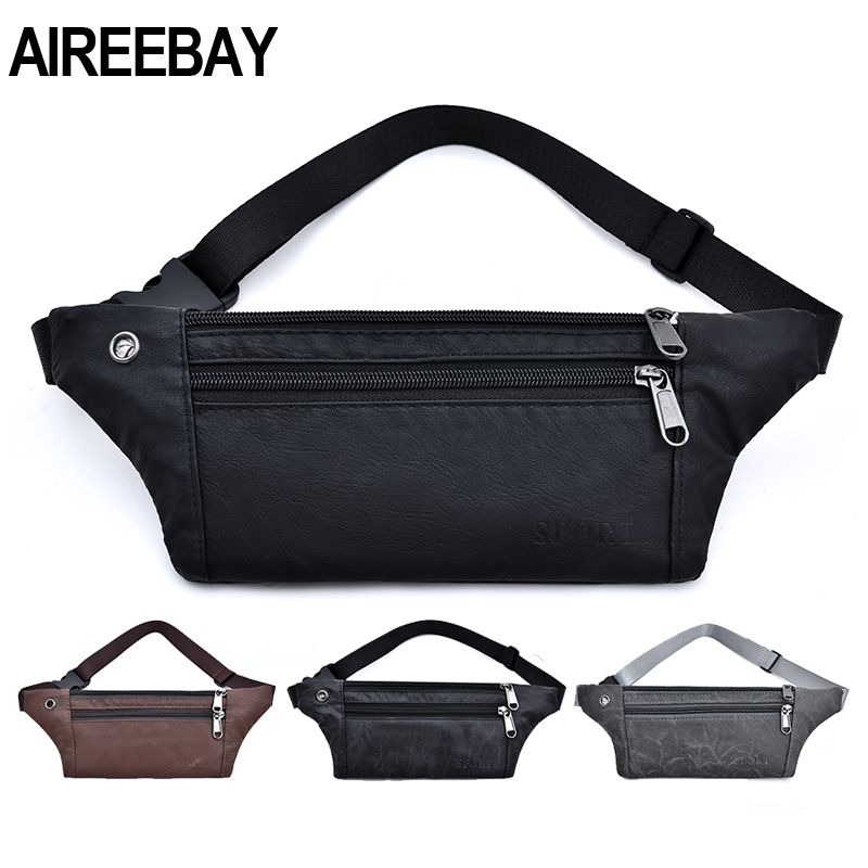 AIREEBAY Casual PU Leather Waist Bag Men Money Phone Fanny Pack Vintage Black Waist Belt Bag Small Travel Hip Bum Bag For Male