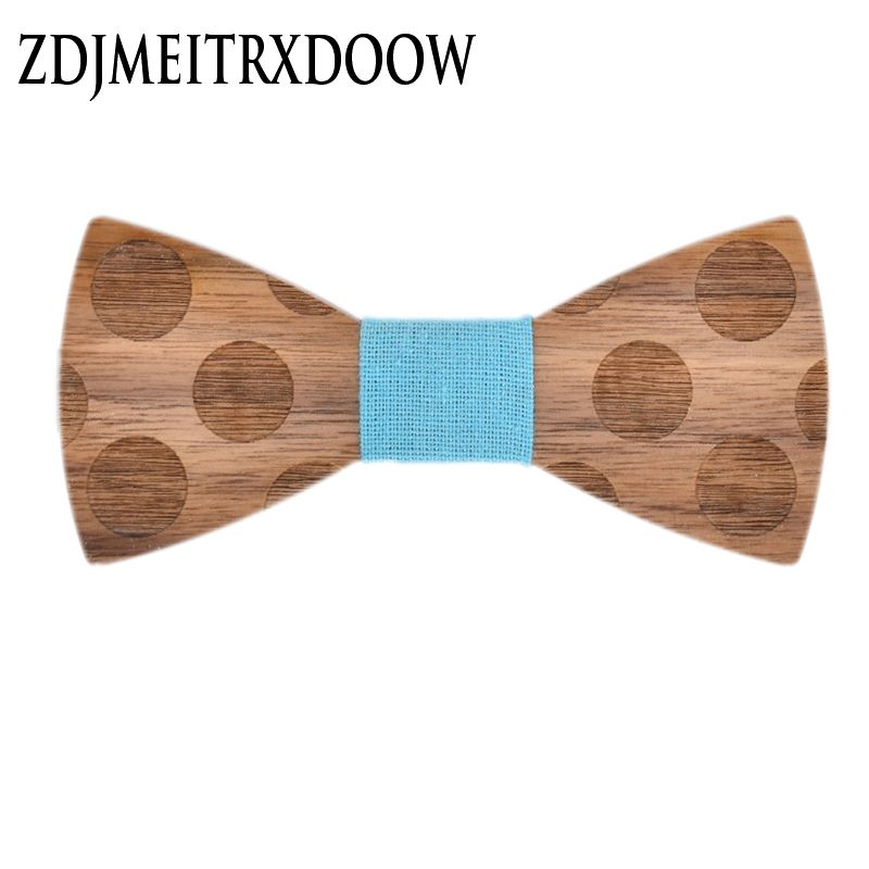 New arrival   Stereoscopic Dot Wood Bow Tie For Men Classic Wooden Bowties Neckwear Creative Handmade Butterfly Wood Tie Gravata