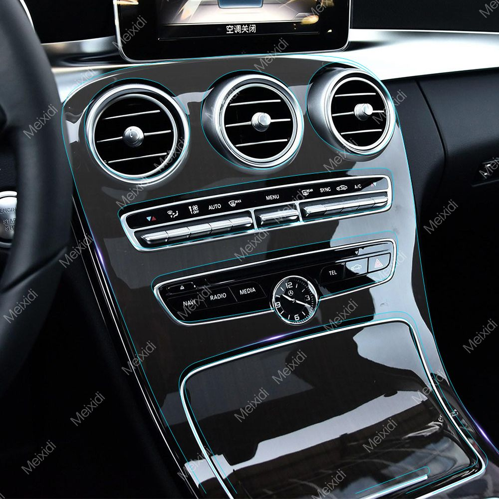 Car Styling Interior Center Console Panel TPU Transparent Protective Film Self Healing Sticker For Mercedes Benz E C GLC Class