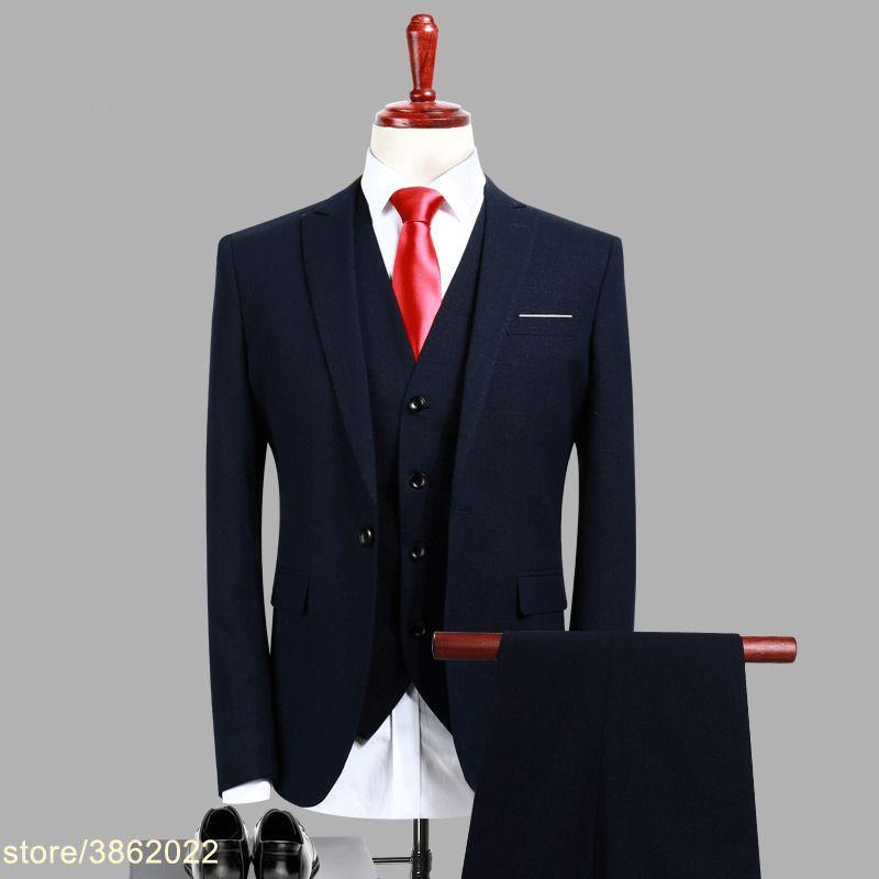 Custom made fashion soild dark blue men slim fit suits good quality mens classic suits plus size 7XL 8XL 9XL 10XL