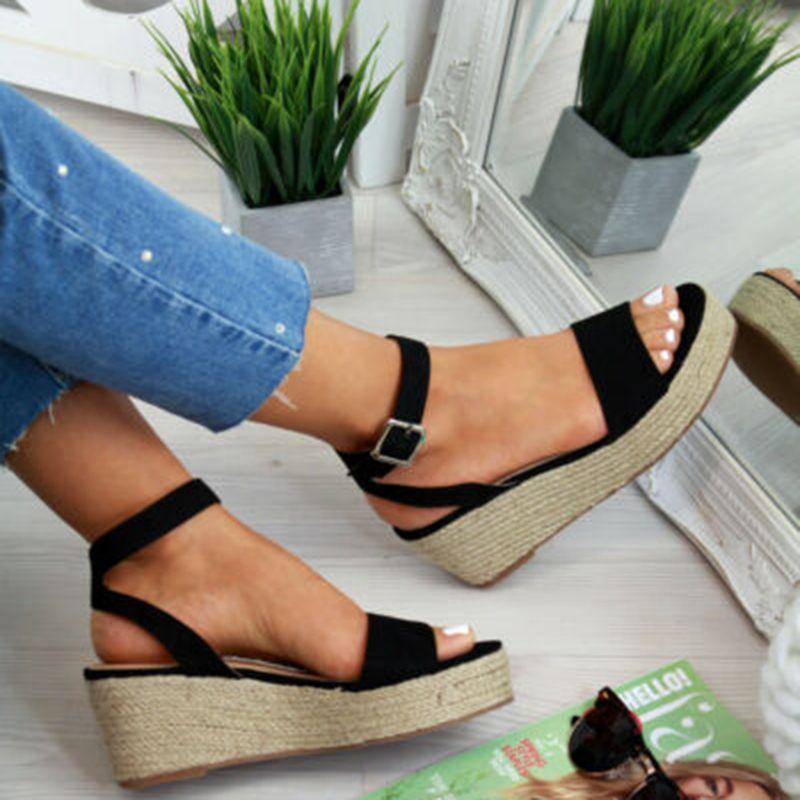 Laamei été plate-forme sandales 2019 mode femmes plat sandale chaussures à semelles compensées femme Peep Toe noir plate-forme sandales sandalias mujer