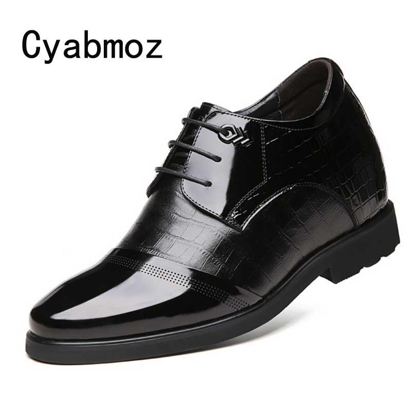 Dress Men Height Increase Elevator Shoes Get Taller 6/8/10/12cm Invisibly for Party Wedding Daily Business Genuine Leather Shoes