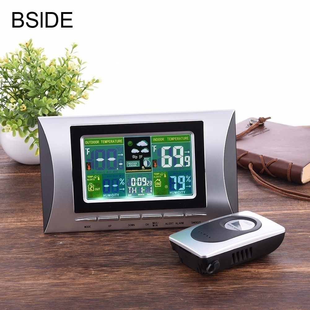 Weather Station Touch Indoor Outdoor Humidity Wall Clock Temperature Sensor Hygrometer Digital Wireless Room Thermometer