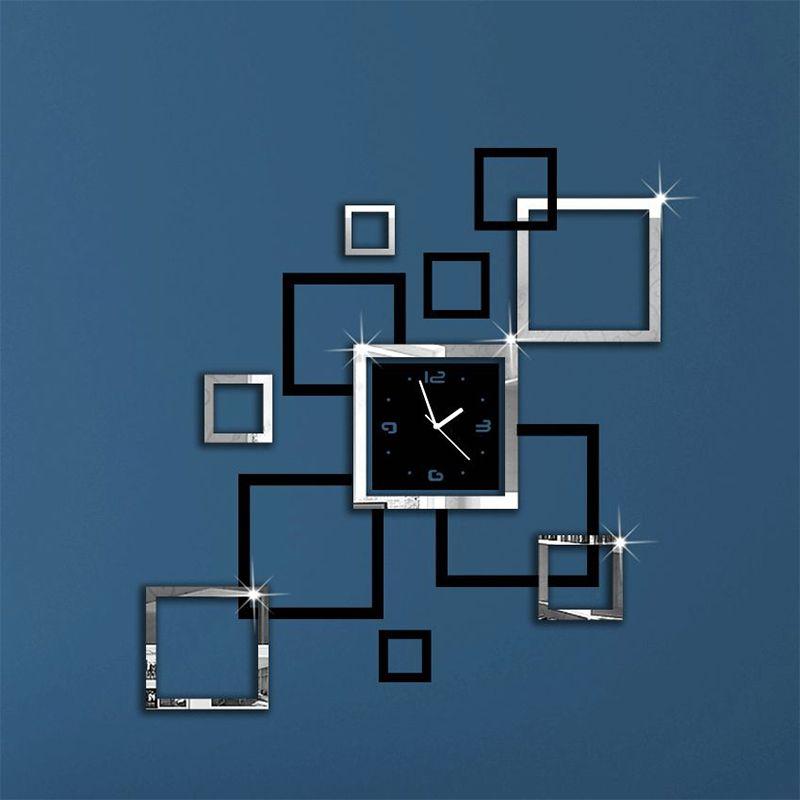 Nouveau chaud haut à la mode 2017 horloges murales miroir moderne 3d bricolage acrylique design contemporain autocollants salon livraison gratuite