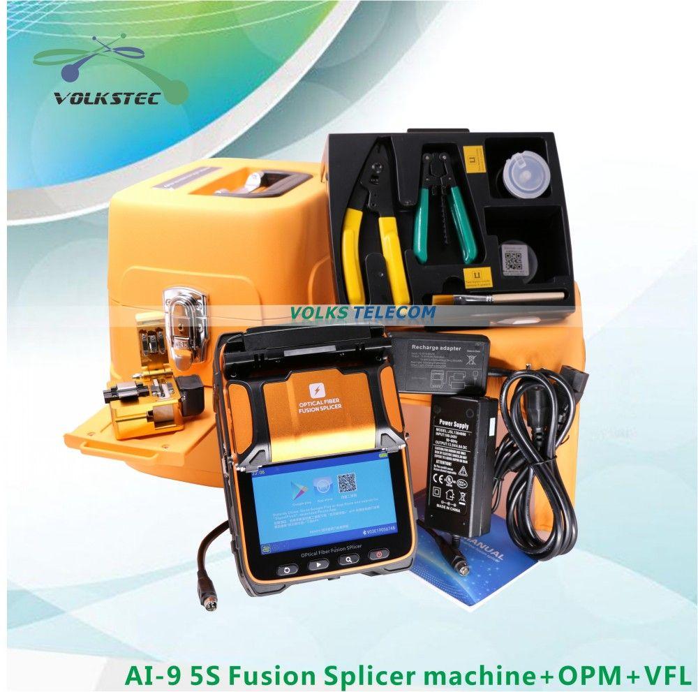 5 S AI-9 Fusion splicer Maschine SM & MM VFL OPM Spleißen Maschine mit FRANZÖSISCH RUSSISCH SPANISCH PORTUGIESISCH