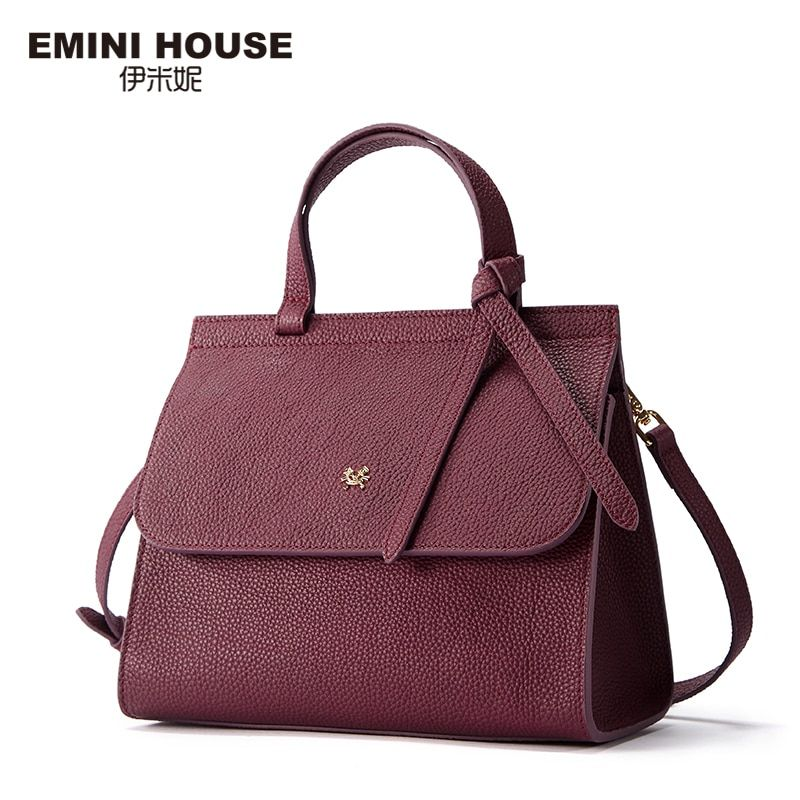 EMINI HOUSE Bow Tie Luxury Handbags Women Bags Designer Women's Genuine Leather Handbag Litchi Stripes Shoulder Bag Female