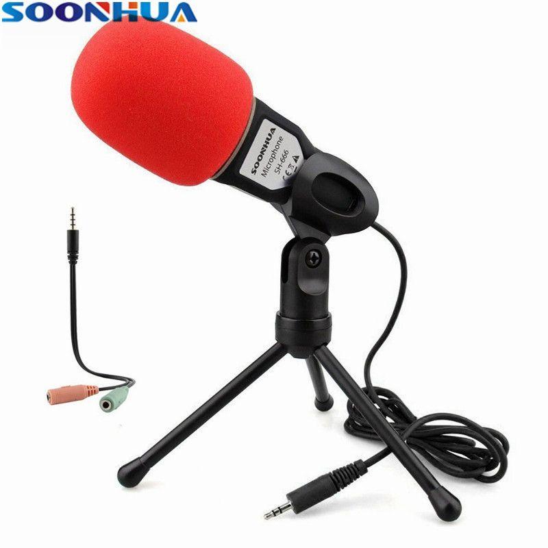 SOONHUA chaud mode 3.5mm micro de bureau professionnel Studio radiodiffusion condensateur Microphone avec Mini trépied pour PC