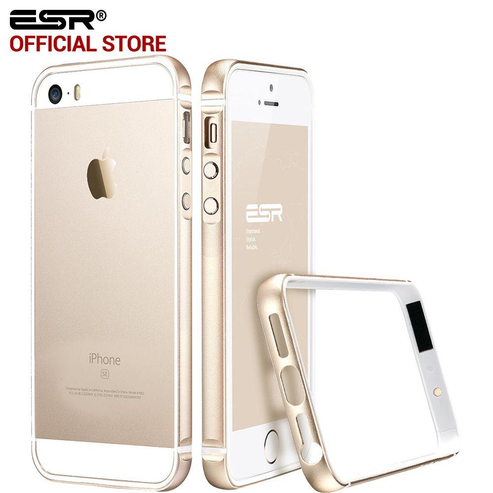 Cas pour iphone 5S/SE, ESR En Métal Cadre Ultra Mince En Alliage D'aluminium Cadre Souple pare-chocs cas pour l'iphone SE/5/5S