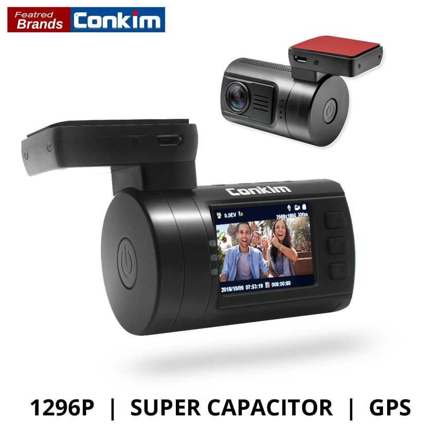 Conkim Ambarella A7 Dash Cam Mini 0806s Car DVR With GPS 1296P 1080P Full HD Auto Video Recorder Super Capacitor Car Camera GPS