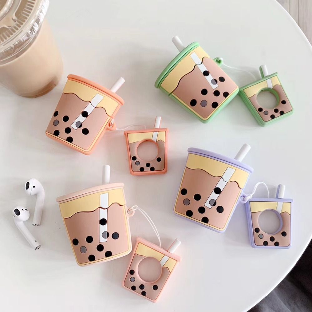 Cartoon For Apple Airpods Bluetooth Wireless Earphone Cover Cute Tea cup Earphones Case for Air Pods Ring lanyard Silicone Cover