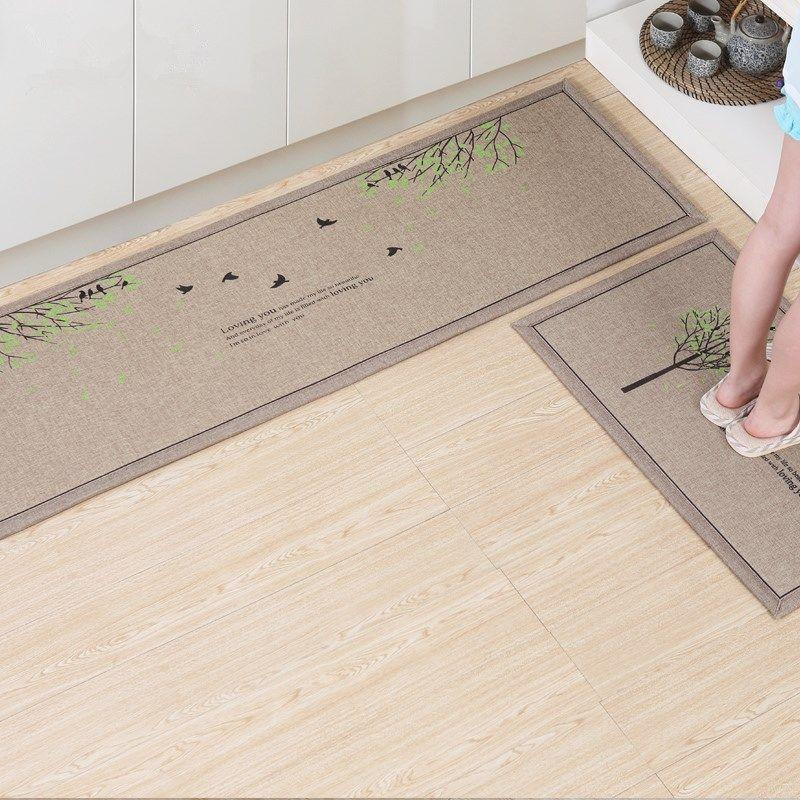 50X80 CM + 50X160 CM/Set tapis de cuisine en lin anti-dérapant absorber l'eau tapis de cuisine accueil entrant paillasson tapis de bain de bande dessinée tapis de chambre
