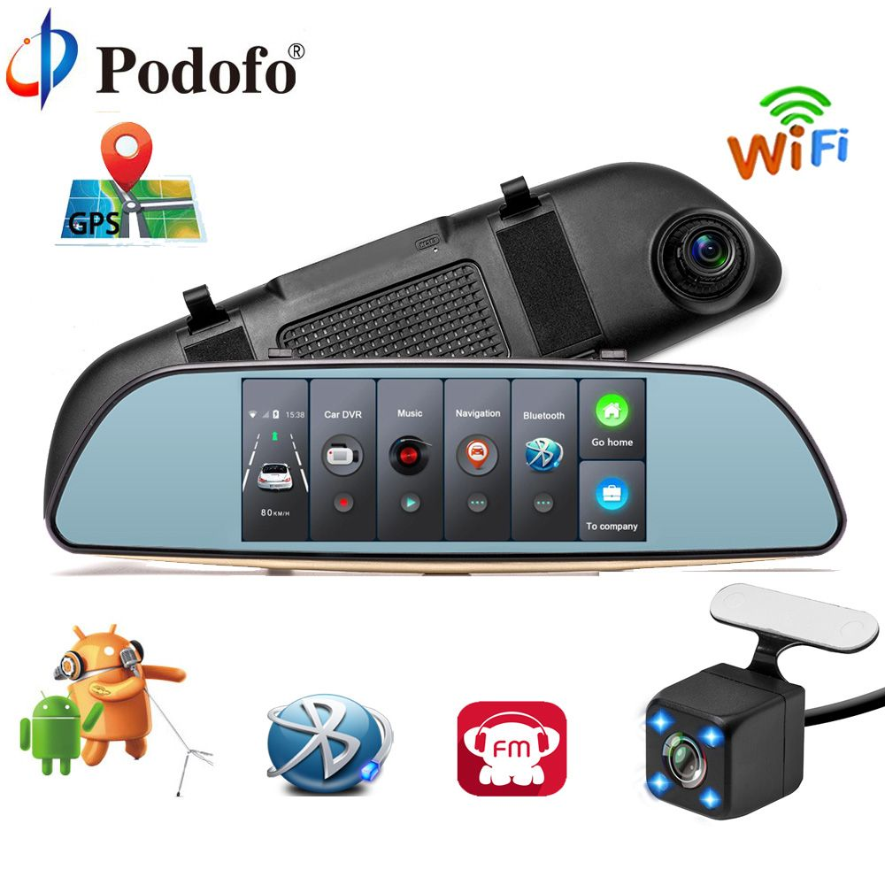 Podofo Car DVR 3G Touch Mirror Camera 7