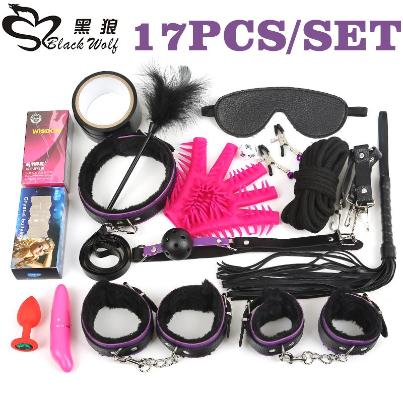 Black <font><b>Wolf</b></font> 17Pcs /set BDSM Bondage Set Plush Leather Fetish sex Bondage nipple Clamps Ball Gag Eyes Mask SM Handcuffs Erotic toy