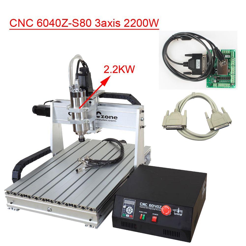 6040 3axis CNC Router Machine 2.2KW DIY CNC Engraver CNC Router Engraving Milling Drilling Cutting Machine CNC6040 USB CNC