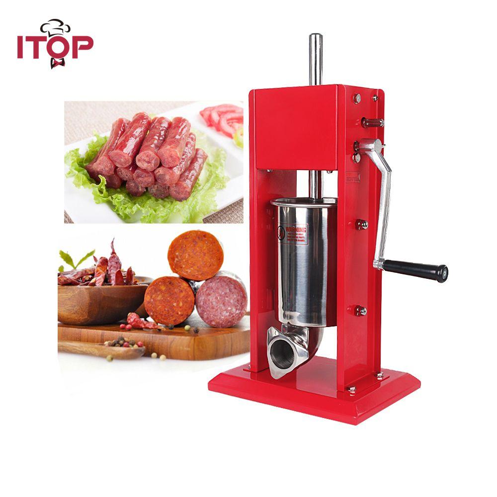 ITOP Neue Ankunft Roten Doppel Geschwindigkeiten Manuelle Wurst Stuffer Vertikale Edelstahl 3L Pfund Fleisch Füllstoff Mear Prozessoren