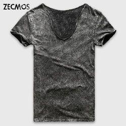Zecmos Fashion Hitam Kaos Pria Casual V Neck T Shirt untuk Pria Vintage Lengan Pendek Berat Dicuci Kapas Top Tees pria