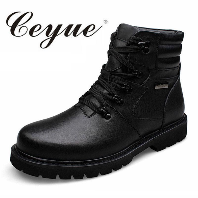 Ceyue Nueva Calidad Del Cuero Genuino de Gran Tamaño 37-48 Botas Casuales de Los Hombres Cordón de la Calidad de Los Hombres Botas de Invierno de Piel caliente Zapatos Ocasionales Para los Zapatos hombres