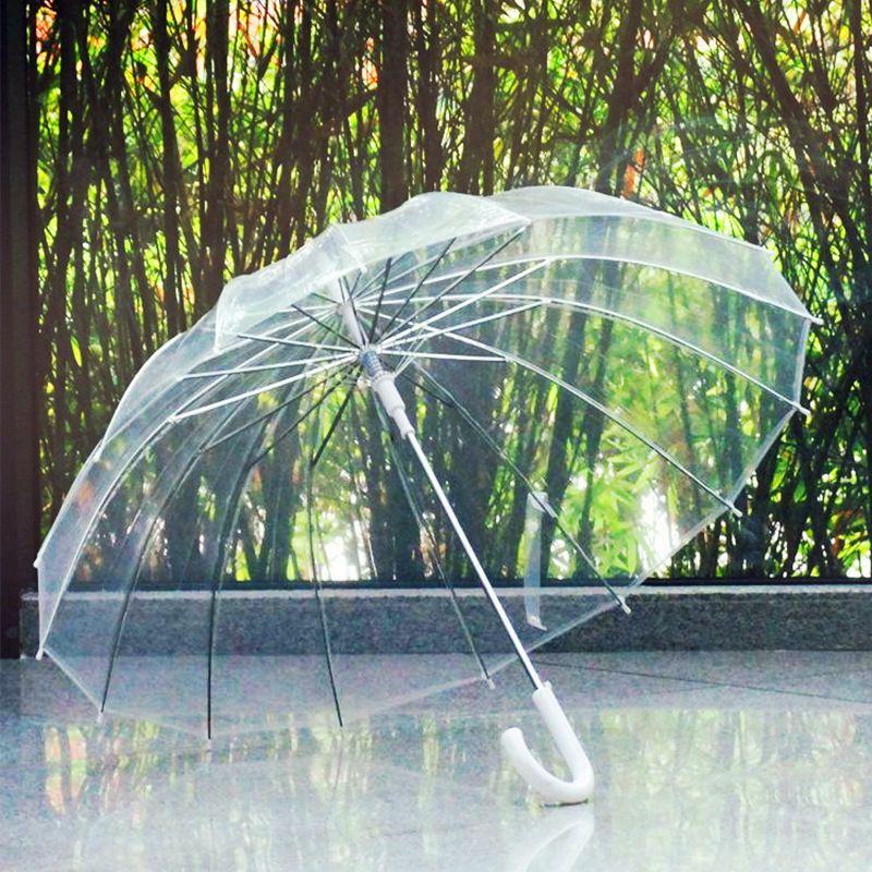 Parapluies transparents semi-automatiques pour protéger contre le vent et la pluie parapluie à Long manche champ de Vision clair