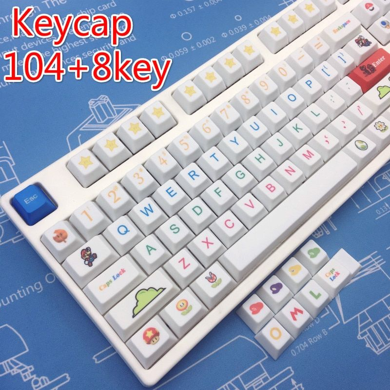 Taille de thème de Sublimation de colorant PBT Mario pour le clavier de jeu d'ordinateur cerise