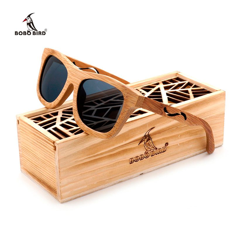 BOBO BIRD Polar Unique Retro Sunglasses Women Handmade Bamboo Sun glasses Men as Gift Vingtage Oculos Masculino C-BG004a