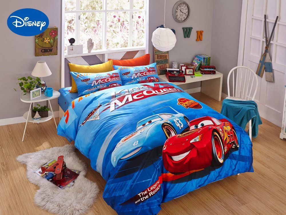 Blue Disney Cartoon Lightning McQueen Printed Bedding Sets for Childrens Boys Home Decor Cotton Bed covers Twin Full Queen King