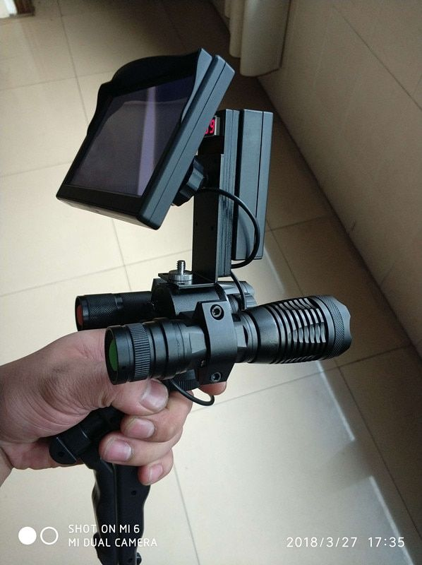 Rifle Scope Add On DIY Night Vision Camera with 5 inch LCD Screen and IR Torch Day and night dual use