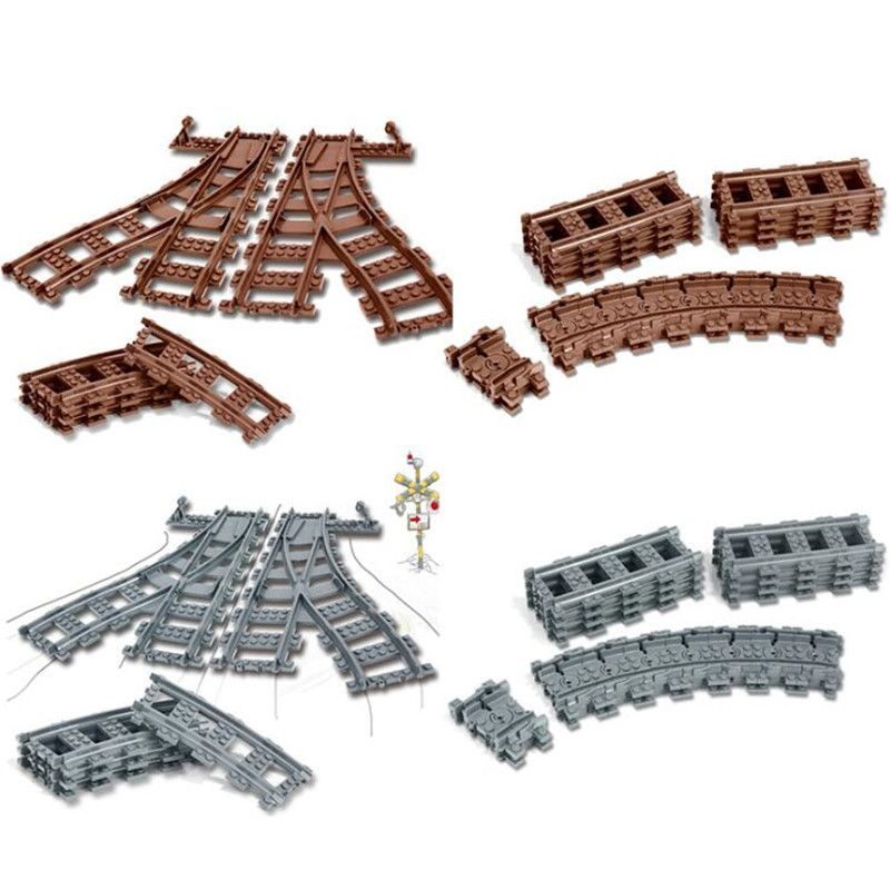 Legoing City Trains Technic Flexible Track Rail Straight Curved Rails Building Blocks Set for Kids Educational Bricks Children